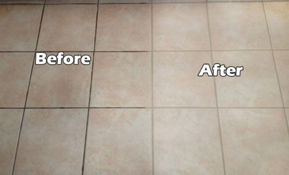 Grout cleaning in the kitchen before and after